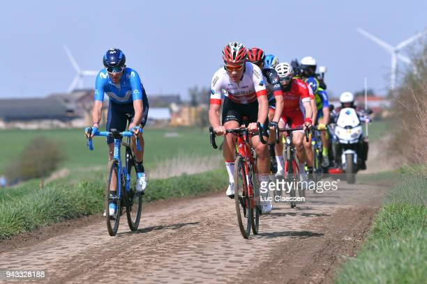 Marc Soler of Spain and Movistar Team / Silvan Dillier of Switzerland and Team AG2R La Mondiale / during the 116th Paris Roubaix 2018 a 257km race...