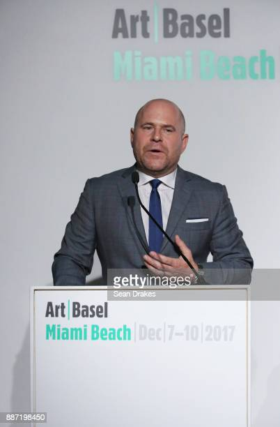 Marc Spiegler Global Director Art Basel talks during a media conference at Art Basel Miami Beach on December 06 2017 in Miami United States