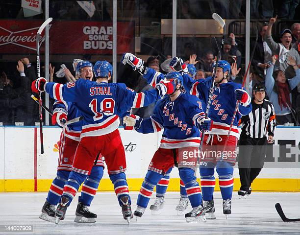 Marc Staal of the New York Rangers celebrates his overtime gamewinning goal against the Washington Capitals in Game Five of the Eastern Conference...