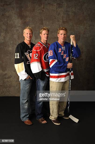 Marc Staal of the New York Rangers Jordan Staal of the Pittsburgh Penguins and Eric Staal of the Carolina Hurricanes pose for the NHLI Stylized...