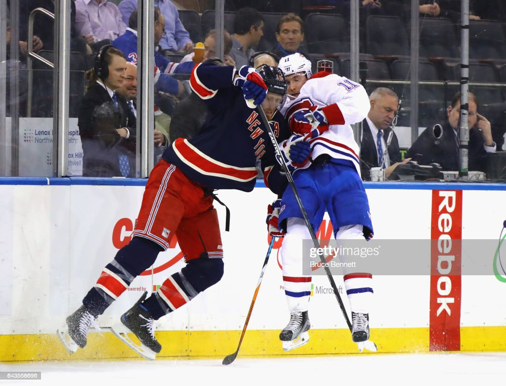 Marc Staal #18 of the New York Rangers steps into Brendan Gallagher #11 of the Montreal Canadiens during the first period at Madison Square Garden on February 21, 2017 in New York City.