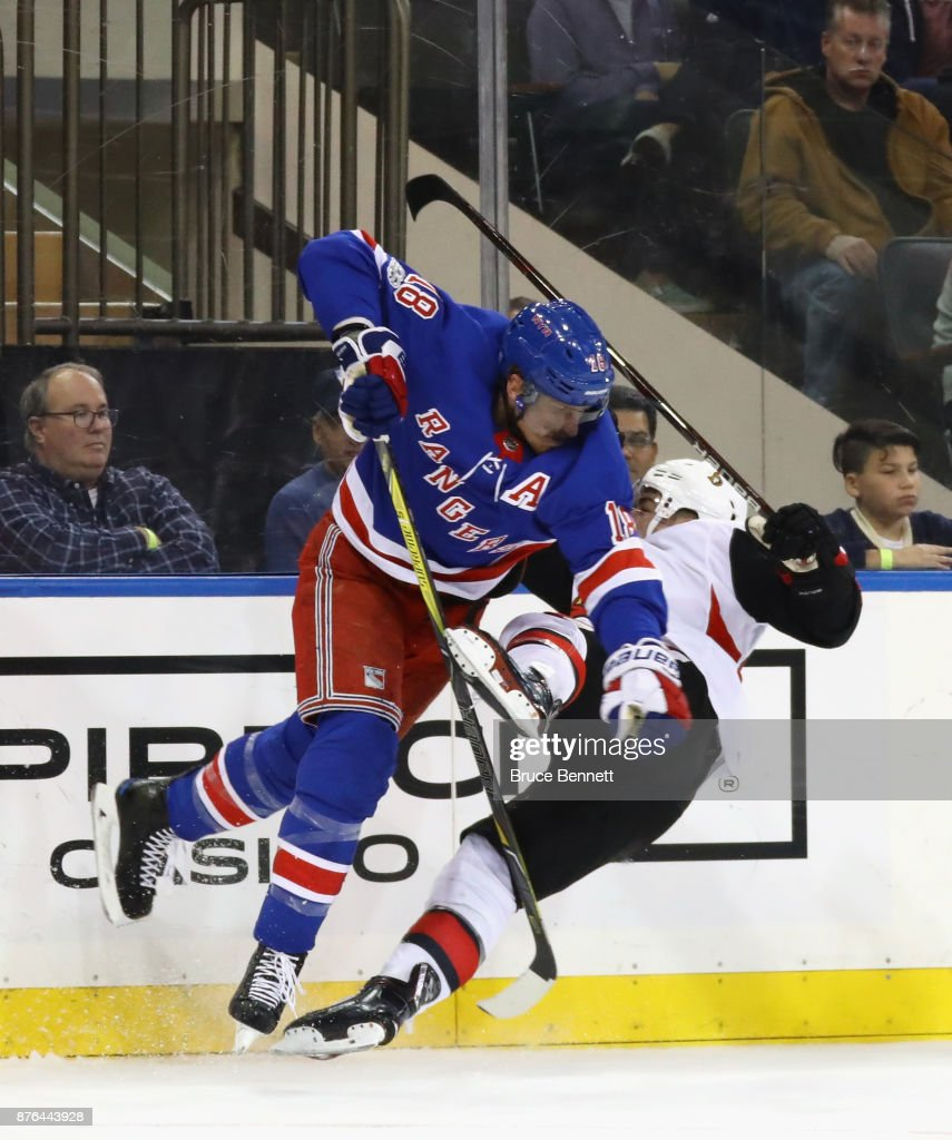 Marc Staal #18 of the New York Rangers steps into Jean-Gabriel Pageau #44 of the Ottawa Senators during the third period at Madison Square Garden on November 19, 2017 in New York City. The Rangers shutout the Senators 3-0.