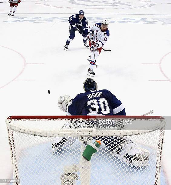 Marc Staal of the New York Rangers takes the shot against Ben Bishop of the Tampa Bay Lightning in Game Three of the Eastern Conference Finals during...