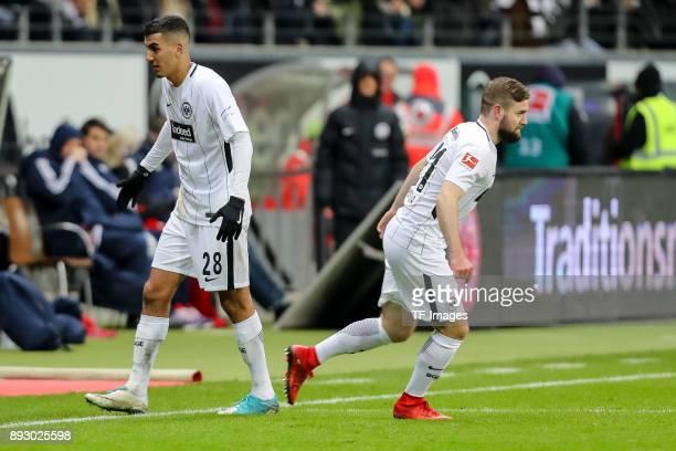Marc Stendera of Frankfurt comes on as a substitute for Aymane Barkok of Frankfurt during the Bundesliga match between Eintracht Frankfurt and FC...