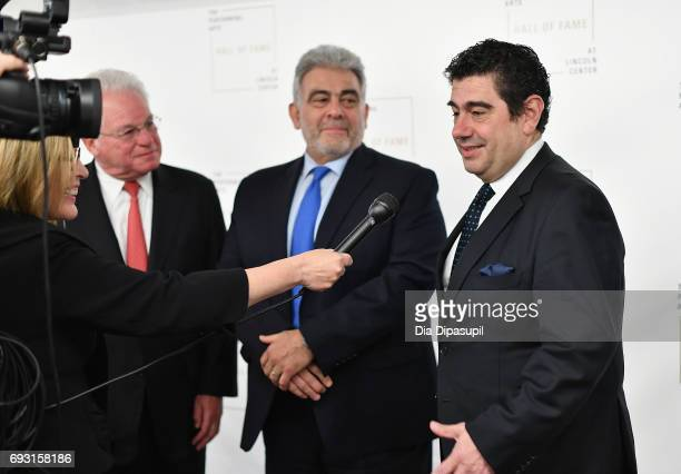 Marc Stern Jose Placido Domingo and Alvaro Maurizio Domingo attend Lincoln Center Hall Of Fame Gala at the Alice Tully Hall on June 6 2017 in New...