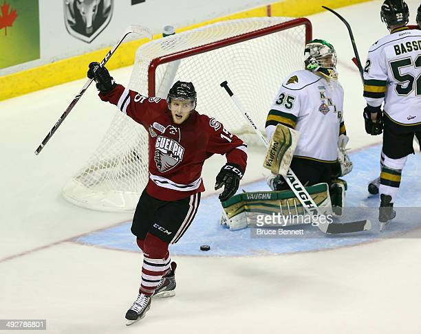 Marc Stevens of the Guelph Storm scores a third period goal against the London Knights during the 2014 Memorial Cup tournament at Budweiser Gardens...