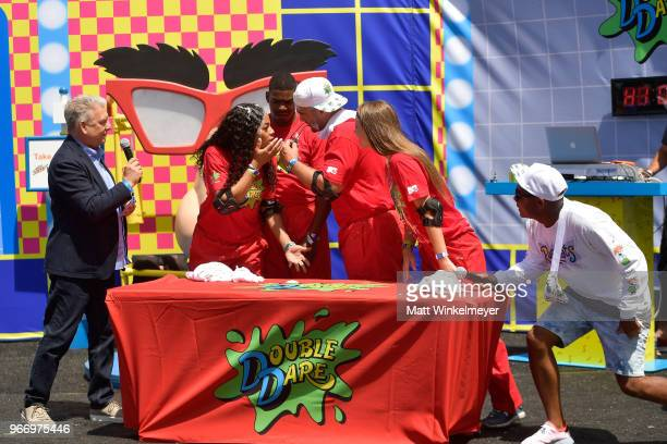 Marc Summers Kam Williams Leroy Garrett Chris 'CT' Tamburello Jenna Compono and DJ Maxwell attend Double Dare presented by Mtn Dew Kickstart at...