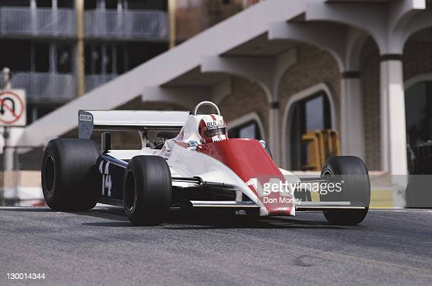 Marc Surer drives the Ensign Racing Ensign N180B Ford Cosworth DFV 30 V8 during the United States Grand Prix West on 15th March 1981 at the Long...