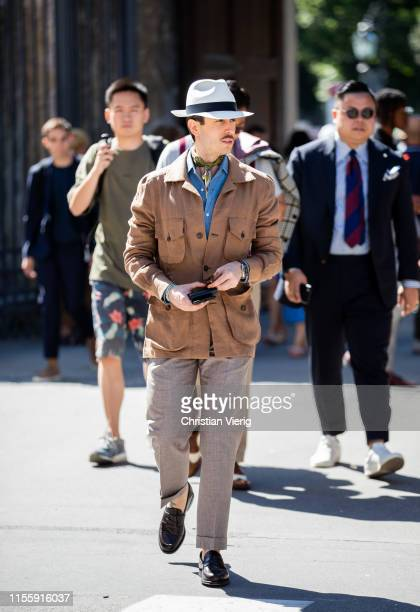 Marc Taddie is seen wearing brown jacket during Pitti Immagine Uomo 96 on June 13, 2019 in Florence, Italy.