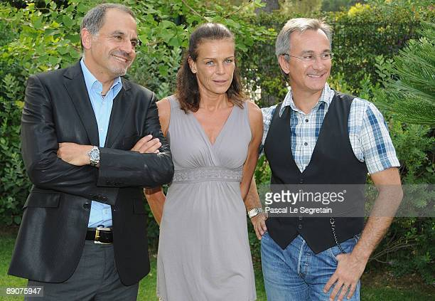 Marc Toesca Princess Stephanie of Monaco and Laurent Petitguillaume attend a press conference before the summer Gala of Fight Aids Monaco on July 17...