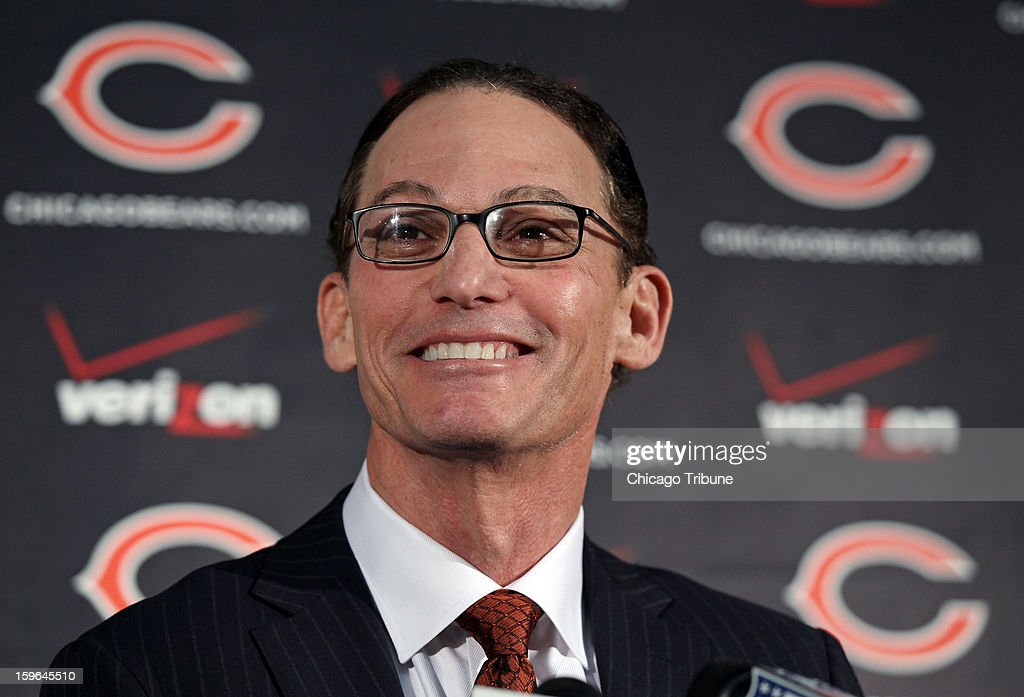 Marc Trestman smiles while addressing reporters as the Chicago Bears' new head coach at Halas Hall in Lake Forest, Illinois, on Thursday, January 17, 2013.