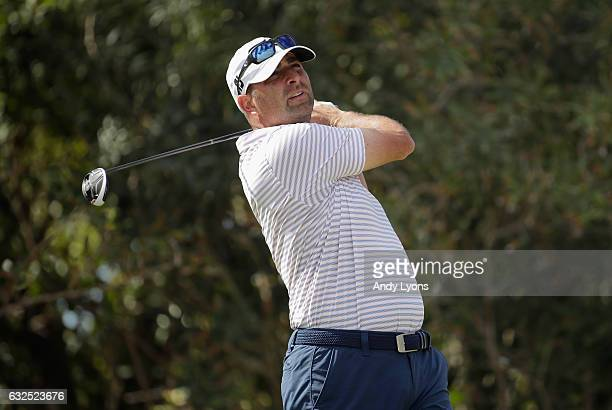 Marc Turnesa hits his tee shot on the 13th hole during the second round of The Bahamas Great Abaco Classic at the Abaco Club on January 23 2017 in...