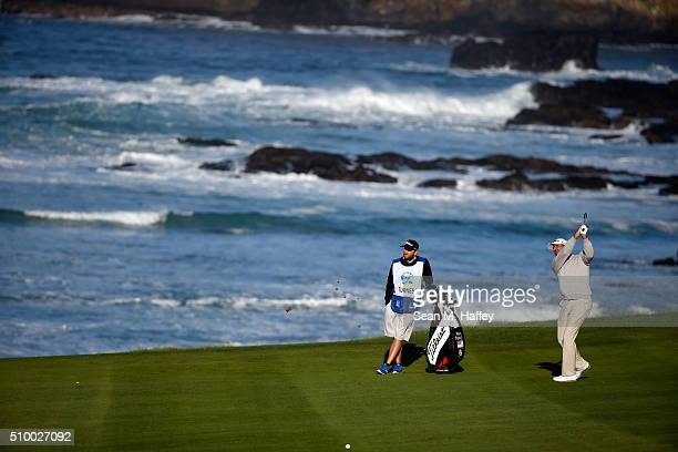 Marc Turnesa plays a shot from the fairway on the 10th hole during round three of the ATT Pebble Beach National ProAm at the Pebble Beach Golf Links...