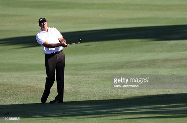 Marc Turnesa plays a shot on the 18th hole during the third round of the Transitions Championship at Innisbrook Resort and Golf Club on March 19 2011...