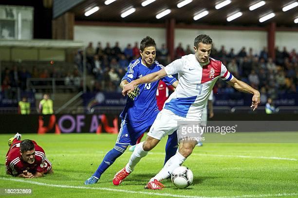 Marc Vales of Andorra goalkeeper Ferran Pol Perez of Andorra Robin van Persie of Holland during the FIFA 2014 World Cup qualifier match between...