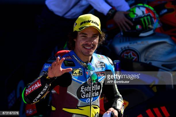 Marc VDS rider Franco Morbidelli of Italy celebrates after winning the Moto2 championship of the Valencia Grand Prix at Ricardo Tormo racetrack in...