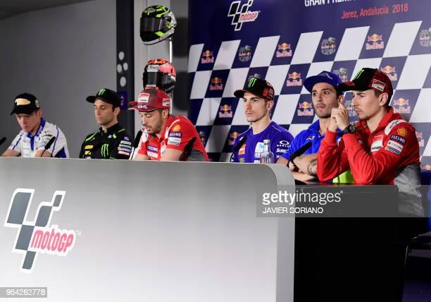 Marc VDS' Spanish rider Tito Rabat, Monster Yamaha Tech 3's French rider Johann Zarco, Ducati Team's Italian rider Andrea Dovizioso, Movistar Yamaha...