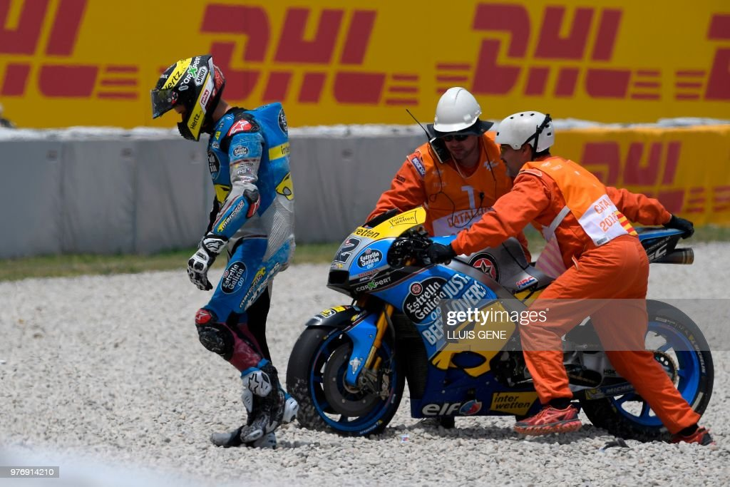Marc VDS' Swiss rider Thomas Luthi abandons the Catalunya MotoGP Grand Prix race at the Catalunya racetrack in Montmelo, near Barcelona on June 17, 2018.