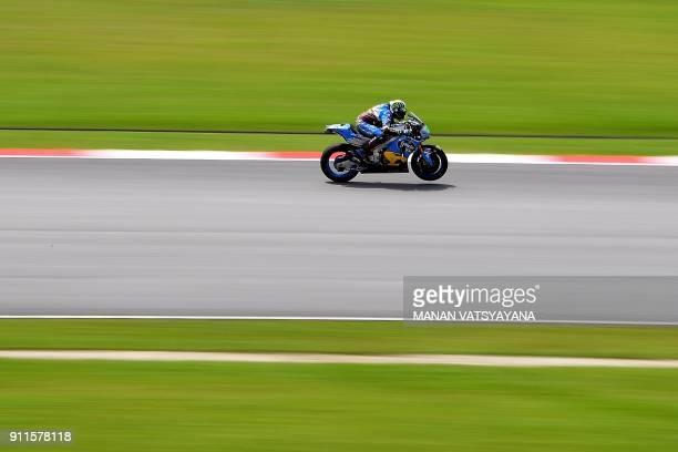 Marc VDS Team's Italian rider Franco Morbidelli powers his bike during the second day of the 2018 MotoGP preseason test at the Sepang International...