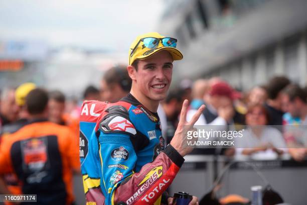 Marc VDS's Spanish rider Alex Marquez reacts after the Moto2 race organised during the Austrian Moto GP Grand Prix in Spielberg on August 11 2019