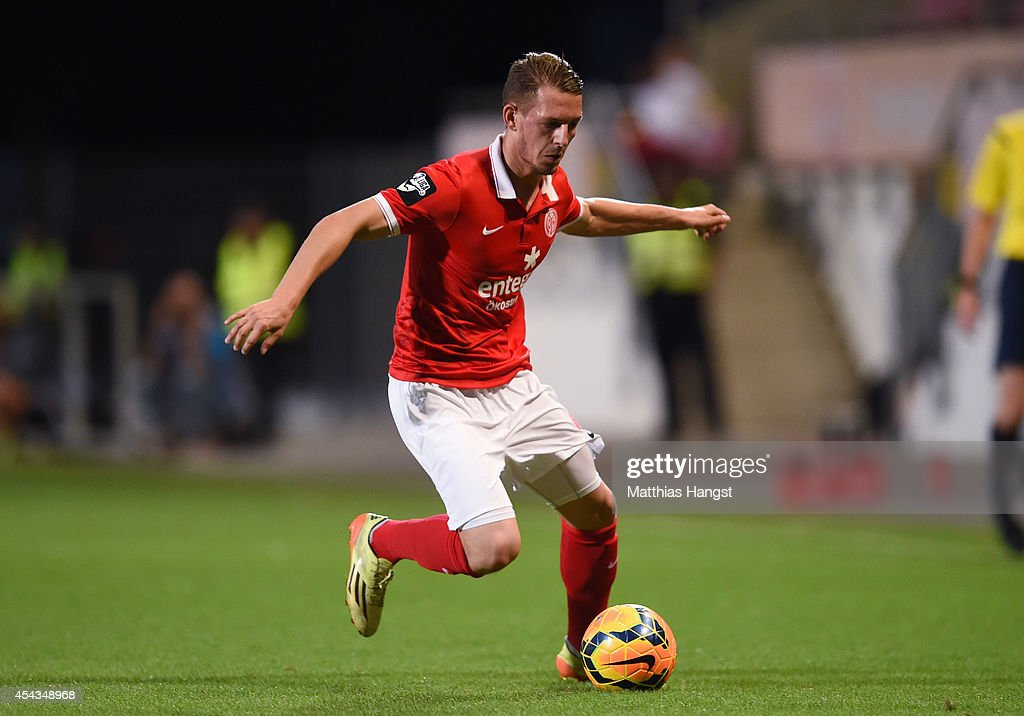 Marc Wachs of Mainz controls the ball during the Third league match between 1. FSV Mainz 05 II and Hansa Rostock at Bruchweg Stadium on August 29, 2014 in Mainz, Germany.