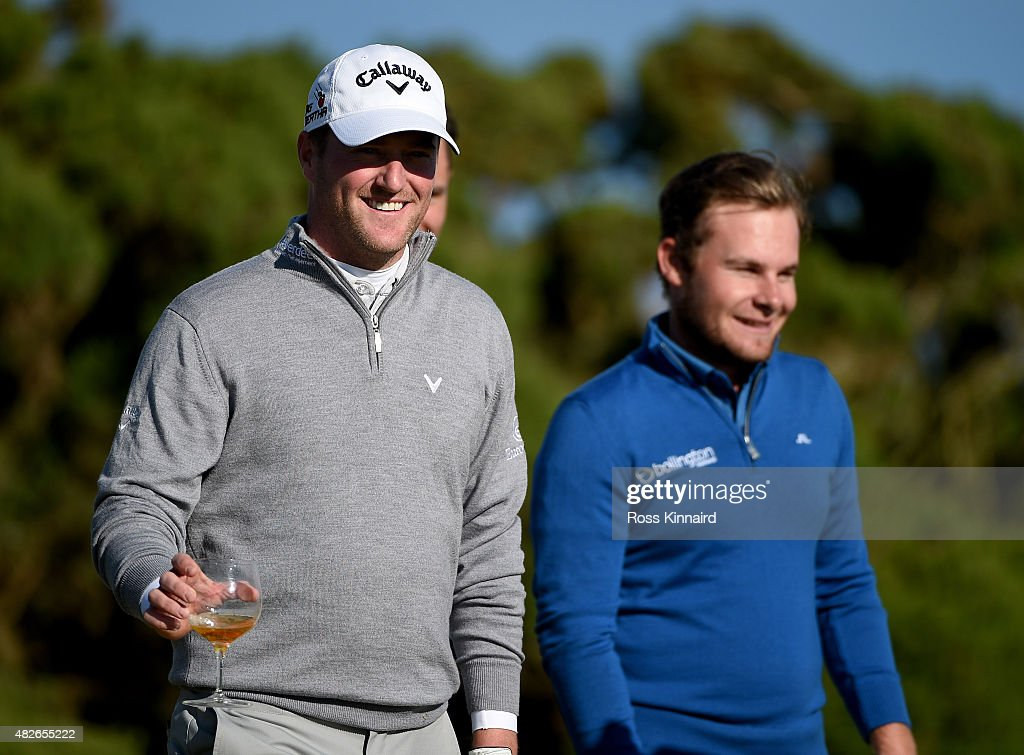 Marc Warren of Scotland celebrates after winning on the first extra hole during his match against Tyrrell Hatton of England in the Quater Final of the Saltire Energy Paul Lawrie Matchplay at Murcar Links Golf Course on August 1, 2015 in Aberdeen, Scotland.
