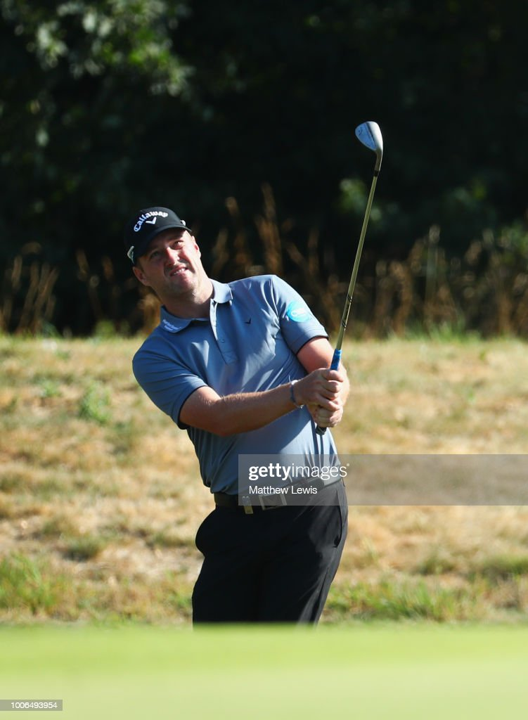 Marc Warren of Scotland chips onto the 11th green during day three of the Porsche European Open at Green Eagle Golf Course on July 28, 2018 in Hamburg, Germany.