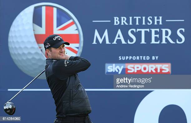 Marc Warren of Scotland hits his tee shot on the ninth hole during the first round of the British Masters at The Grove on October 13 2016 in Watford...