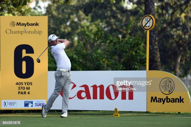Marc Warren of Scotland in action during Day One of the Maybank Championship Malaysia at Saujana Golf and Country Club on February 9 2017 in Kuala...