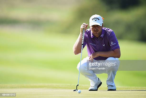 Marc Warren of Scotland lines up a putt during the first round of the Made in Denmark at Himmerland Golf Spa Resort on August 20 2015 in Aalborg...