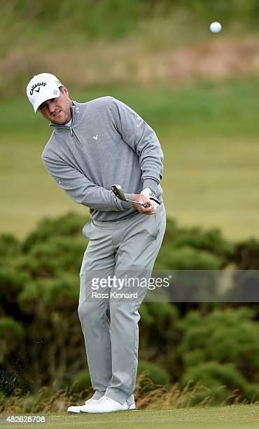 Marc Warren of Scotland on the par three 16th hole in his match against Nicolas Colsaerts of Belgium during the third round of the Saltire Energy...