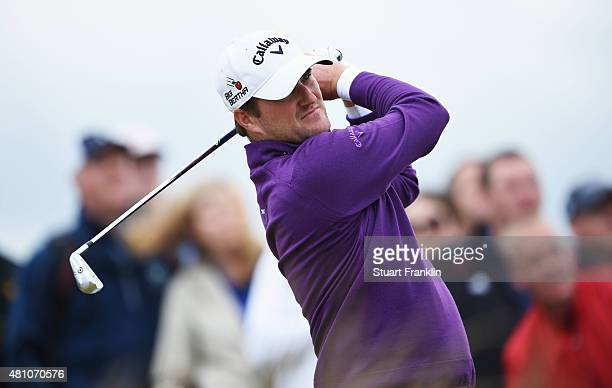 Marc Warren of Scotland plays a shot on the 10th hole during the second round of the 144th Open Championship at The Old Course on July 17 2015 in St...
