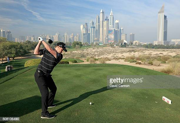 Marc Warren of Scotland plays from the eighth tee during the proam as a preview for the 2016 Omega Dubai Desert Classic on the Majlis Course at the...