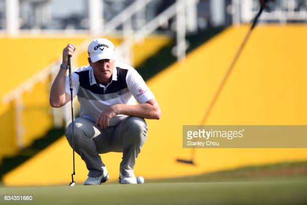 Marc Warren of Scotland prepares to play during Day One of the Maybank Championship Malaysia at Saujana Golf and Country Club on February 9 2017 in...