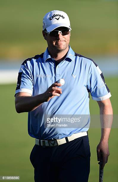 Marc Warren of Scotland reacts during day one of the Portugal Masters at Victoria Clube de Golfe on October 20 2016 in Vilamoura Portugal