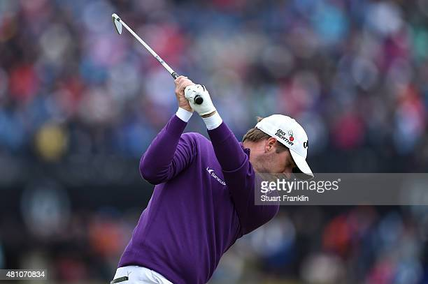 Marc Warren of Scotland tees off during the second round of the 144th Open Championship at The Old Course on July 17 2015 in St Andrews Scotland