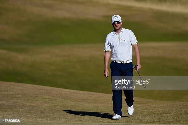 Marc Warren of Scotland walks on the first green during the second round of the 115th US Open Championship at Chambers Bay on June 19 2015 in...