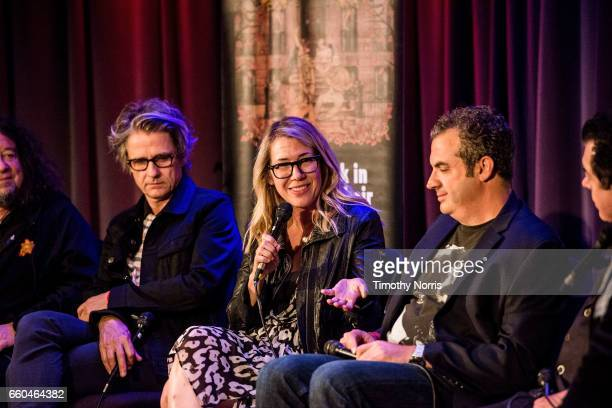 Marc Weinstein Dean Wareham Jo Ann Thrailkill and Zev Feldman speak during Celebrating 10 Years of Record Store Day at The GRAMMY Museum on March 29...