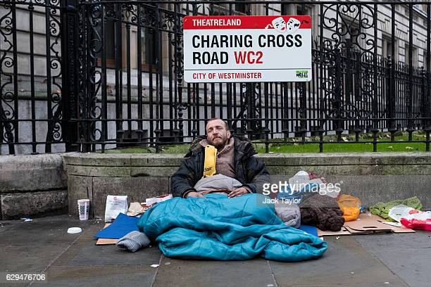 Marc who has been homeless for 18 years is pictured among his belongings on Charing Cross Road on December 6 2016 in London England Homelessness...