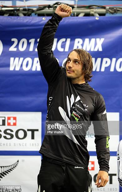 Marc Willers of New Zealand celebrates his second place in the Mens Elite Final during day five of the UCI BMX World Championships at Vector Arena on...
