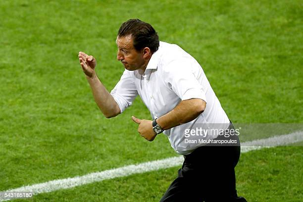 Marc Wilmots manager of Belgium gestures during the UEFA EURO 2016 round of 16 match between Hungary and Belgium at Stadium Municipal on June 26 2016...