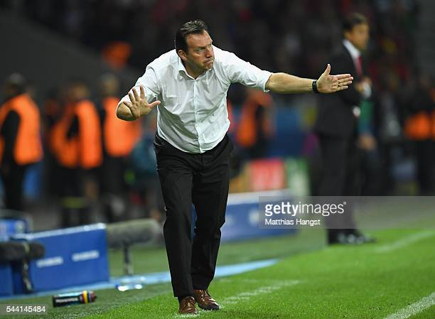 Marc Wilmots manager of Belgium gestures during the UEFA EURO 2016 quarter final match between Wales and Belgium at Stade PierreMauroy on July 1 2016...