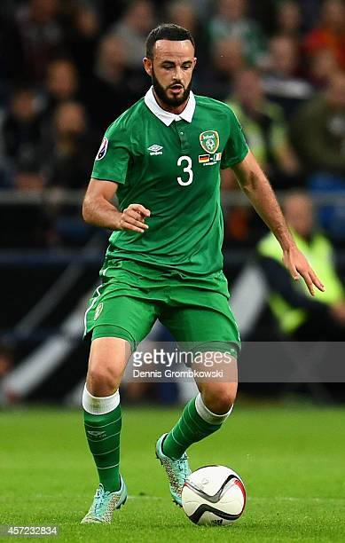 Marc Wilson of Republic of Ireland controls the ball during the EURO 2016 Qualifier between Germany and Republic of Ireland at the VeltinsArena on...