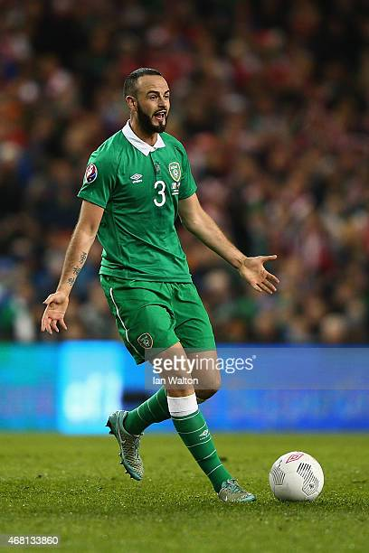 Marc Wilson of Republic of Ireland in action during the Euro 2016 qualifying football match between Republic of Ireland and Polandat Aviva Stadium on...