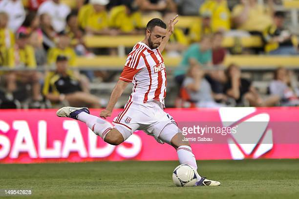 Marc Wilson of Stoke City FC controls the ball against the Columbus Crew on July 24 2012 at Crew Stadium in Columbus Ohio