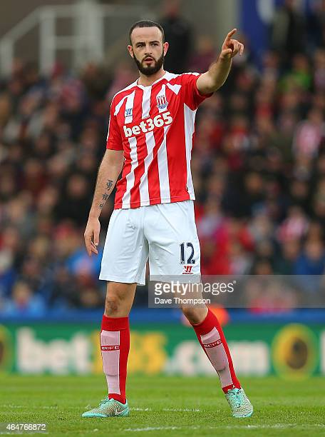 Marc Wilson of Stoke City gestures during the Barclays Premier League match between Stoke City and Hull City at Britannia Stadium on February 28 2015...