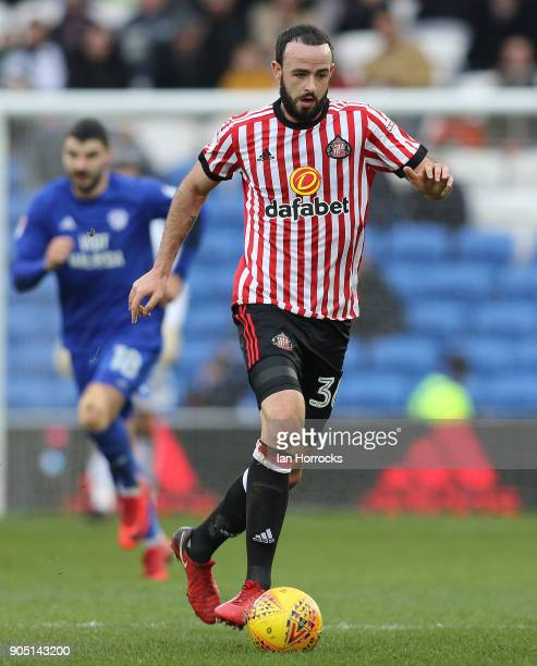 Marc Wilson of Sunderland during the Sky Bet Championship match between Cardiff City and Sunderland at Cardiff City Stadium on January 13 2018 in...