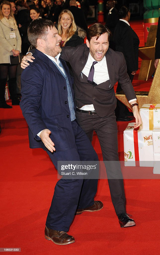 Marc Wootton and David Tennant attend the 'Nativity 2: Danger In The Manger' premiere at Empire Leicester Square on November 13, 2012 in London, England.