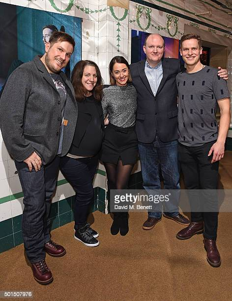 Marc Wootton Clare Lizzimore Susannah Fielding and Mike Bartlett attend an after party following the press night performance of Bull at The Young Vic...