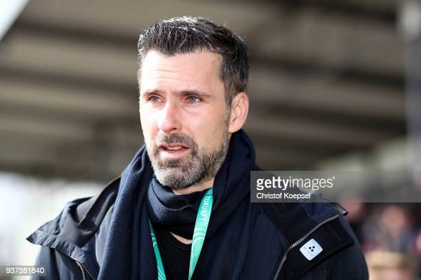 Marc Ziegler goalkeeper coordinator is seen prior to the UEFA Under19 European Championship Qualifier match between Germany and Norway at Stadion...